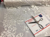 White Embroidered Lace Fabric On A 2 Way Stretch - Wedding Dress - By The Yard