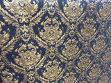 Chenille upholstery Drapery Damask Black Gold Print furniture fabric sold BTY