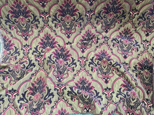 Chenille upholstery Drapery Damask Luxury Multi Color furniture fabric sold BTY