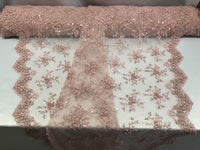Jerusalem's Best Pink Mesh / Embroidery Beaded Lace & Sequins Fabric - Sold By The Yard