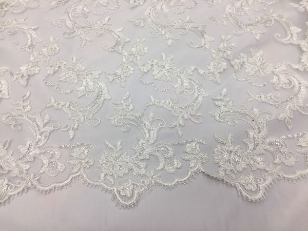 White Flower Lace Corded And Embroider With Mini-Sequins On A Mesh Lace.wedding.