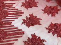 Jerusalem's Beaded Lace Fabric - Embroidered Mesh Floral/Flower Bridal Red By The Yard