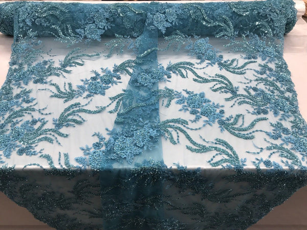 Jerusalem's Luxurious Aqua Mesh / Embroidery Beaded Lace & Sequins Fabric - Sold By The Yard