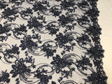 BRIDAL NAVY BLUE HAND BEADED FLORAL DESIGN EMBROIDER ON MESH LACE-SOLD BY YARD.