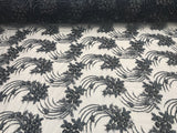 Navy Design Embroider Mesh Beaded And Sequins Lace Fabric - By The Yard