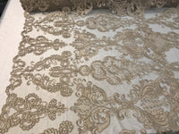 Taupe French Corded Design Embroider With Sequins On A Mesh Lace Fabric-By Yard