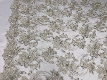 Load image into Gallery viewer, BRIDAL SILVER HAND BEADED FLORAL DESIGN EMBROIDER ON MESH LACE-SOLD BY YARD.