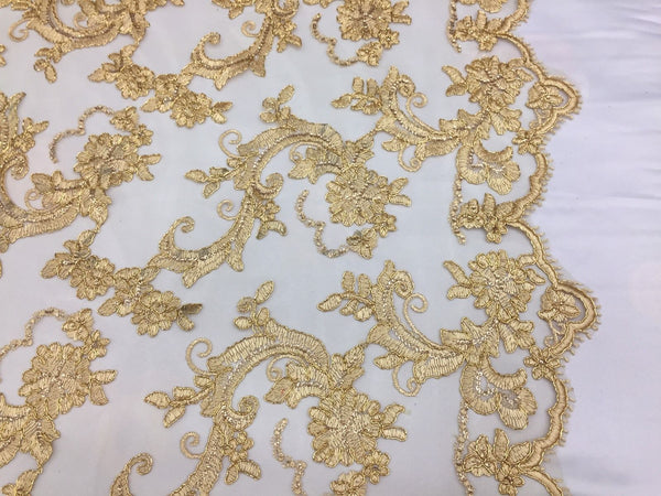 Gold Flower Lace Corded And Embroider With Mini-SequinsOn A Mesh 2 And A Half