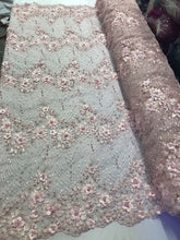 Load image into Gallery viewer, Jerusalem's Embroidered Floral/Flower Mesh & Pearls By The Yard Lace Fabric Pink