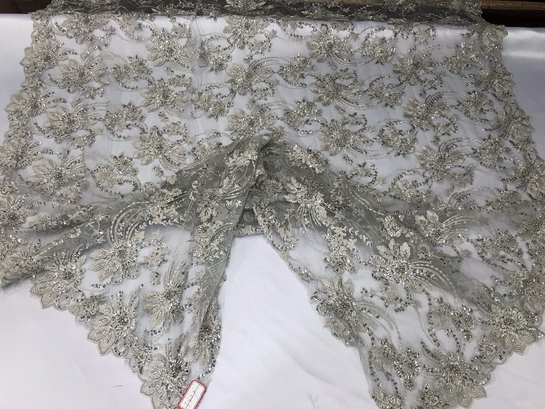 BRIDAL SILVER HAND BEADED FLORAL DESIGN EMBROIDER ON MESH LACE-SOLD BY YARD.