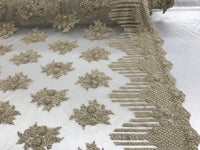 Jerusalem's Beaded Lace Fabric - Embroidered Mesh Floral/Flower Bridal Taupe By The Yard