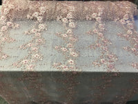 Jerusalem's Embroidered Floral/Flower Mesh & Pearls By The Yard Lace Fabric Pink