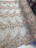 Jerusalem's Embroidered Floral/Flower Mesh & Pearls By The Yard Lace Fabric Blush
