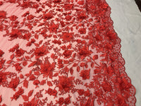 Embroidered Lace Red Mesh Fabric 3D Flower-Floral Wedding Dress By The Yard