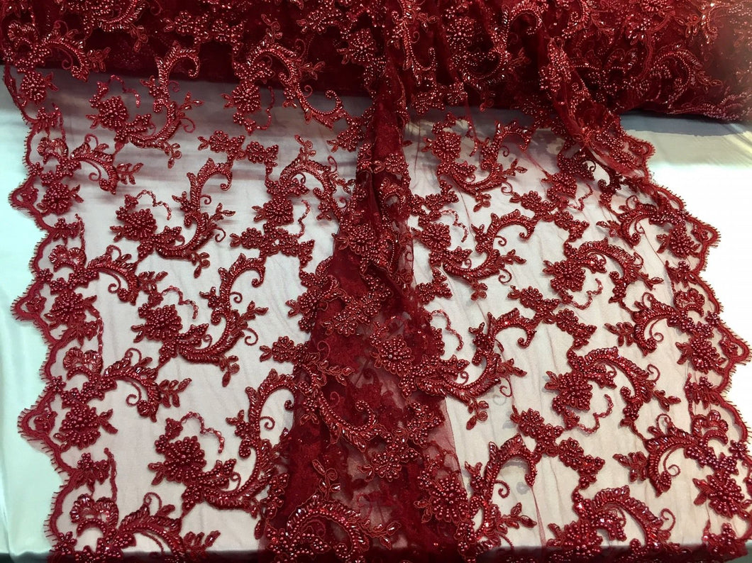 New Queens Design Beaded Mesh Lace Fabric Bridal Wedding Burgundy. Sold By Yard