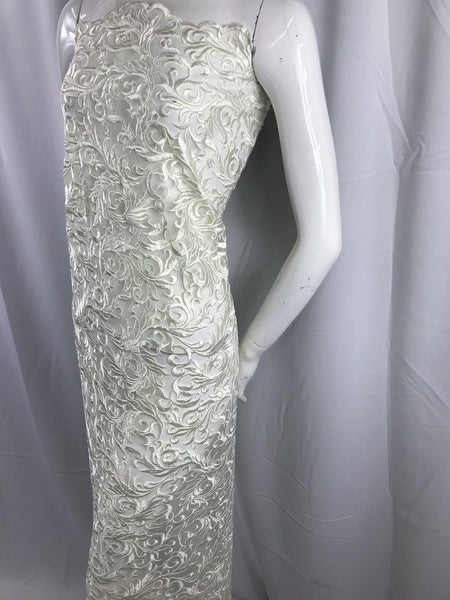 Ivory Guipure Lace Mesh Dress Top-Trim Bridal Wedding Decorations By The Yard