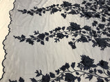 Embroidered Lace Navy Mesh Fabric 3D Flower-Floral Wedding Dress By The Yard