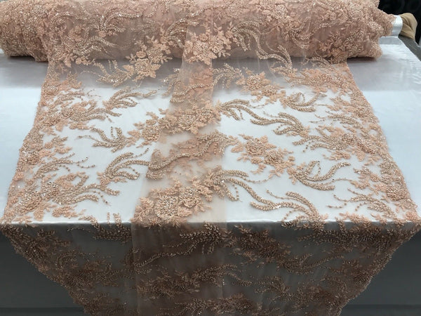 Jerusalem's Luxurious Peach Mesh / Embroidery Beaded Lace & Sequins Fabric - Sold By The Yard
