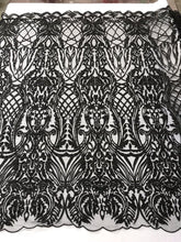 Load image into Gallery viewer, WEDDING LACE BLACK DAMASK DESIGN EMBROIDER WITH PEARLS ON A MESH-SOLD BY YARD