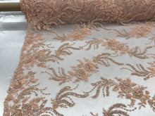 Load image into Gallery viewer, Jerusalem's Luxurious Peach Mesh / Embroidery Beaded Lace & Sequins Fabric - Sold By The Yard