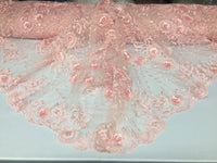 Flower Embroidered - 3D Flower Bridal Veil-Wedding Decorations Pink By The Yard