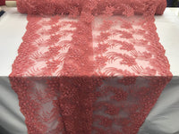Jerusalem Coral Design Embroider Mesh with Beaded Sequins Lace Fabric By Yard