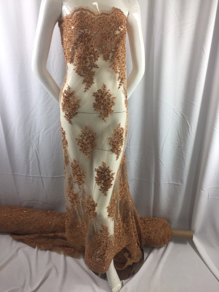 Embroidered Fabric Mesh Lace With Sequins Beaded Wedding Dress Caramel The Yard