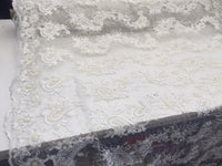 Beaded Ivory Mesh Lace Fabric Luxurious Design With Pearls By Yard