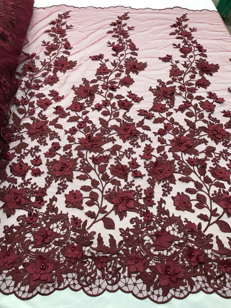 Embroidered Lace Burgundy Mesh Fabric 3D Flower-Floral Wedding Dress By The Yard