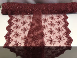 Jerusalem's Best Burgundy Mesh / Embroidery Beaded Lace & Sequins Fabric - Sold By The Yard