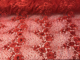 Jerusalem's Embroidered Floral/Flower Mesh & Pearls By The Yard Lace Fabric Red