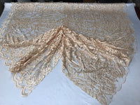 WEDDING LACE PEACH DAMASK DESIGN EMBROIDER WITH PEARLS ON A MESH-SOLD BY YARD.