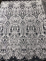 WEDDING LACE WHITE DAMASK DESIGN EMBROIDER WITH PEARLS ON A MESH-SOLD BY YARD.