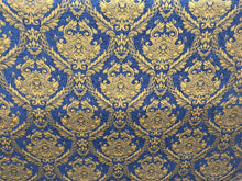 Load image into Gallery viewer, Chenille upholstery Drapery Damask Royal Gold Print furniture fabric sold BTY