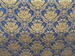 Chenille upholstery Drapery Damask Royal Gold Print furniture fabric sold BTY