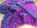 Faux fur/fake fur 3 tone spike multi color fabric. Sold by the yard.