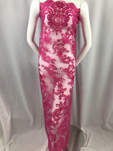 Load image into Gallery viewer, Lace fabric - By The Yard Fuchsia Flower Mesh Dress Embroidered Bridal Wedding