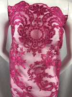Lace fabric - By The Yard Fuchsia Flower Mesh Dress Embroidered Bridal Wedding