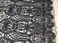 WEDDING LACE NAVY DAMASK DESIGN EMBROIDER WITH PEARLS ON A MESH-SOLD BY YARD.