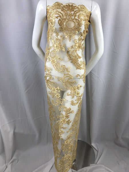 Lace fabric - By The Yard Gold Flower Mesh Dress Embroidered Bridal Wedding