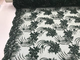 H Green Design Embroider Mesh With Beaded And Sequins Lace Fabric - By The Yard