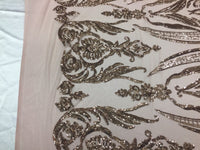 2 way stretch fabric Embroidered Mesh sequins bridal lace fashion - by the yard