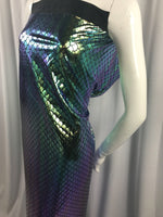 Mermaid Fabric Fish Tail Scale Sparkle Hologram Spandex Multi-Color By The Yard