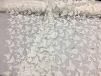 Ivory Soft Mesh with 3D Butterflies Lace Dress Wedding Decorations.Sold 1 yard