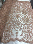 Jerusalem's Beaded Fabric-Embroidery on Polyester Mesh Wedding Dress Blush Pink By The Yard