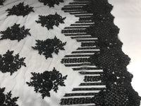 Jerusalem's Beaded Lace Fabric - Embroidered Mesh Floral/Flower Bridal Black By The Yard