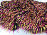 Luxurious Faux Fur Fabric Spikes Multicolor. Sold By The Yard
