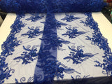 Super Beaded Fabric Mesh Lace For Bridal Wedding Dress Royal Blue - By The Yard.