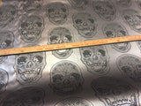 Luxurious Skull Design Heavy Duty Upholstery Vinyl Fabric Gray. Sold By The Yard