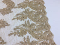 Jerusalem's Beaded fabric - Embroidered Lace Taupe For Bridal Veil By The Yard